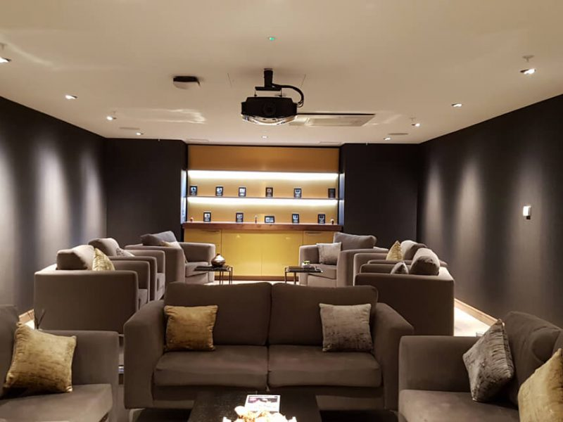 Media room in London controlled via wired touch panel