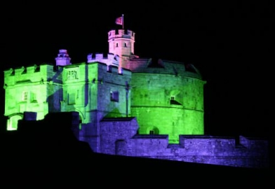 Pendennis castle in Cornwall with external building facade lighting