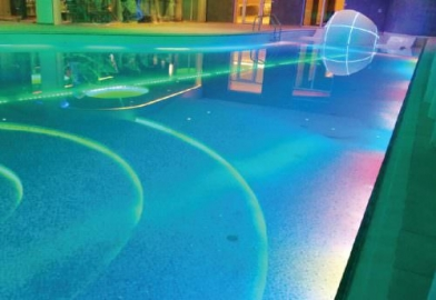 Underwater lighting for a hotel swimming pool
