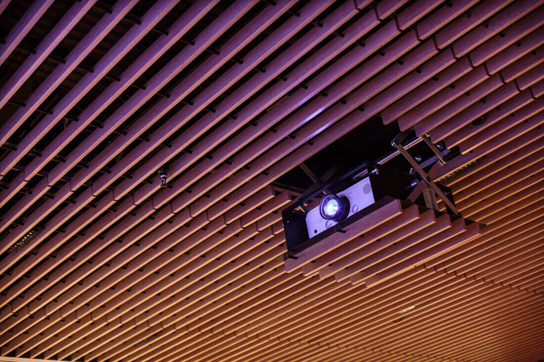 QBE Insurance London Projector Lift in slatted ceiling
