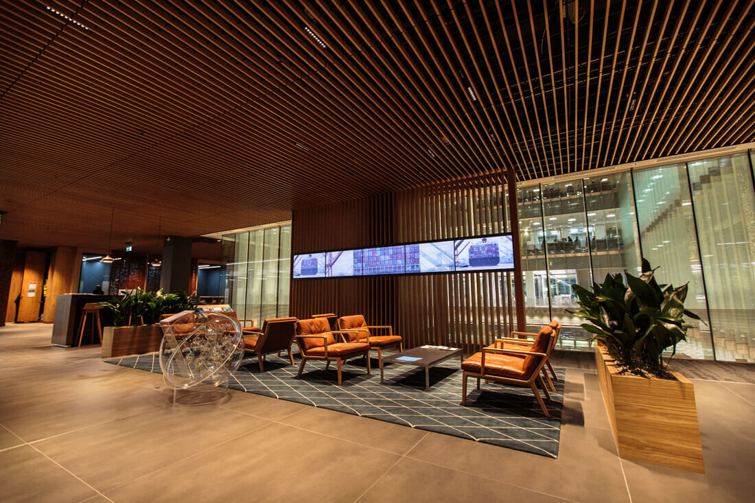 QBE Insurance London Reception Area with Video Wall