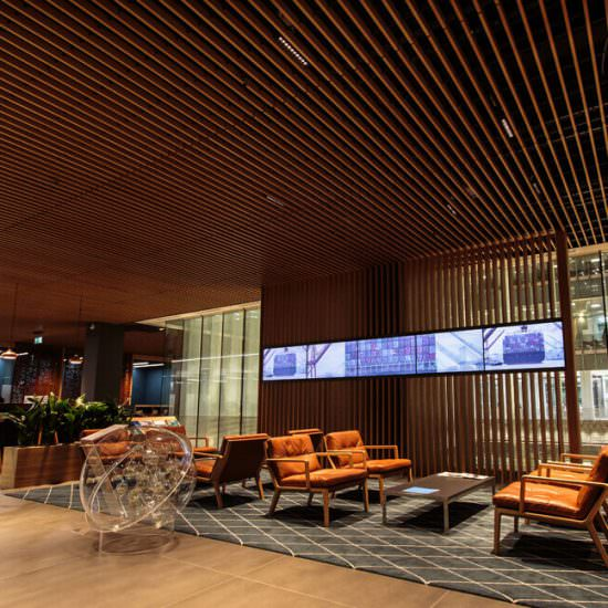 QBE Insurance London Reception Space with Video Wall