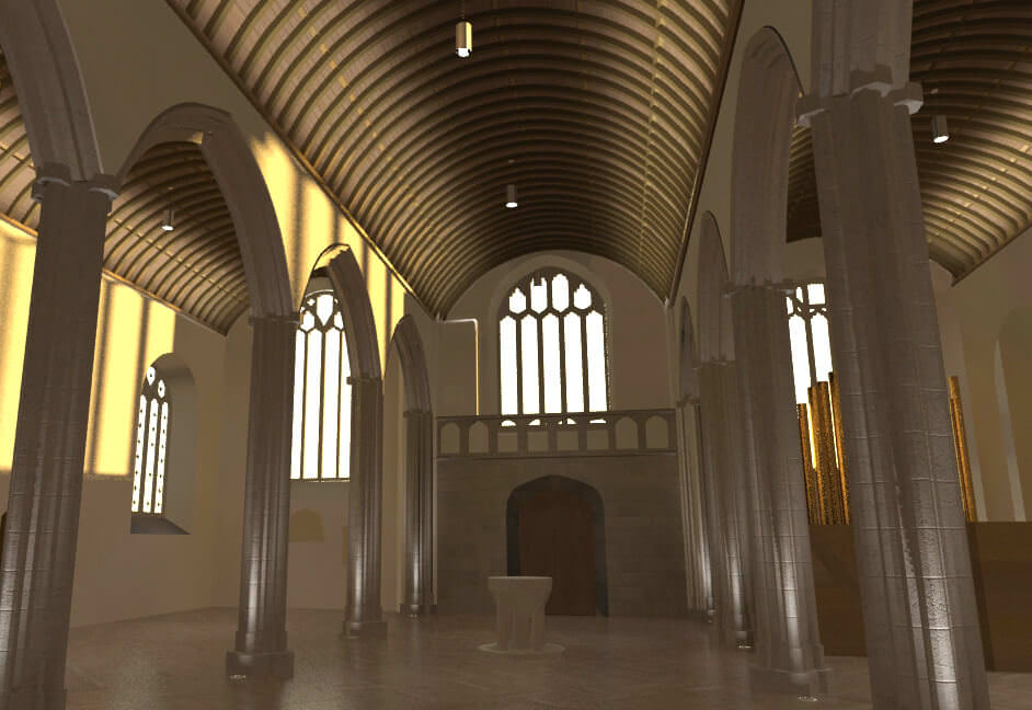 3D model of St Petrocs church for lighting design and installation proposal
