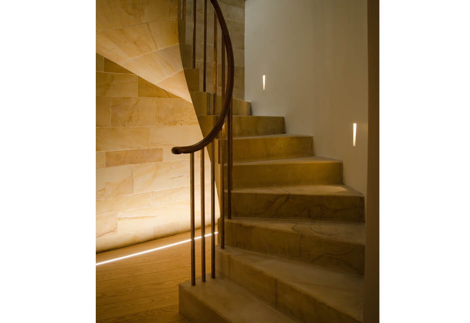 tiled staircase with built in lighting