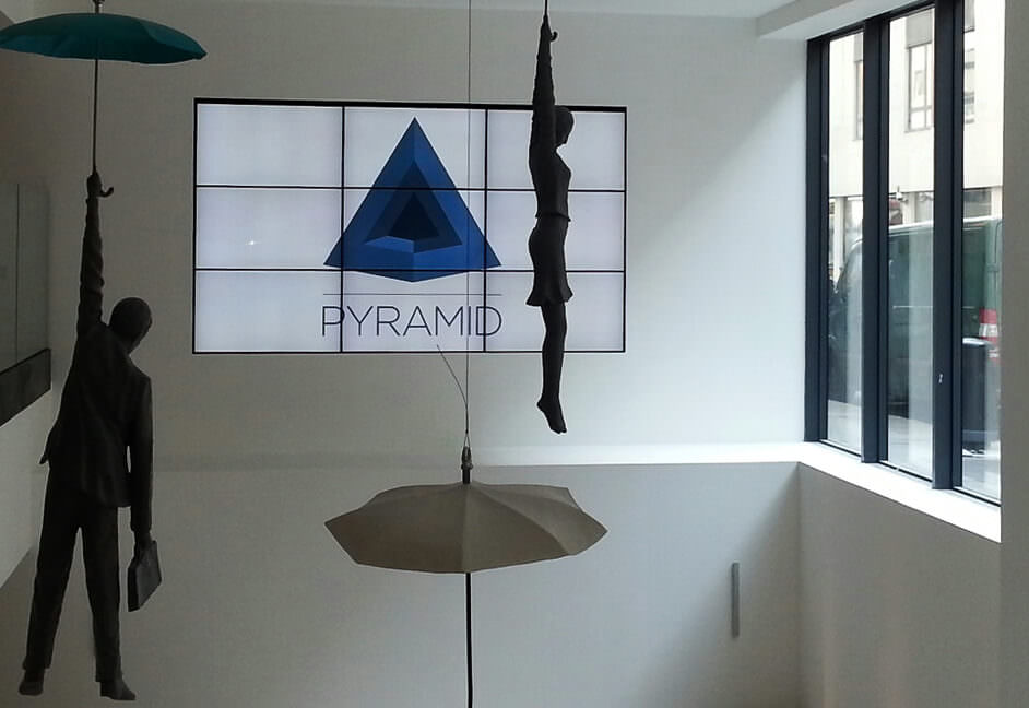 Video wall in a large reception area at an advertising agency in London