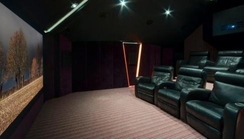 home cinema side view of cinema and screen