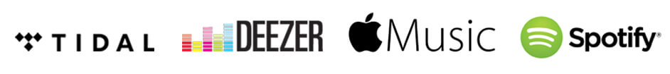 logos for audio streaming providers tidal, deezer, apple music and spotify