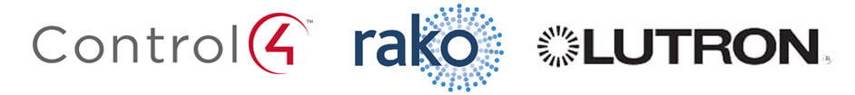 Logos of lighting control solutions providers Control4 Rako Lutron