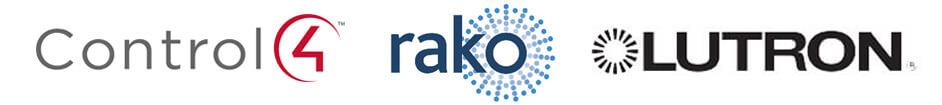 Logos of lighting control solutions providers Control4 Rako Lutron