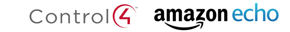 Logos of voice control home automation solutions Control 4 and Amazon Echo, Amazon Alexa