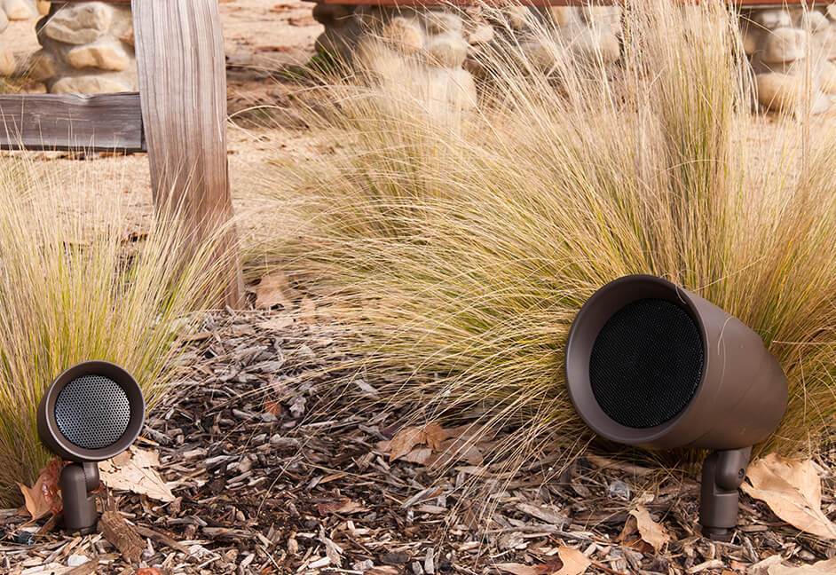 Outdoor external garden speakers from Sonance Landscape Series