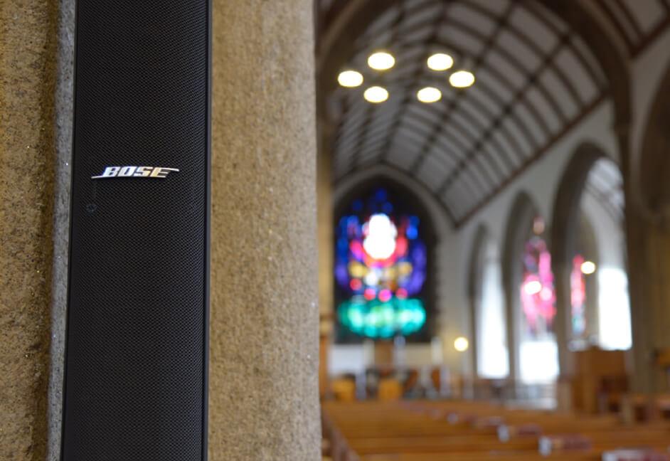 Devon church speaker audio installation with Bose