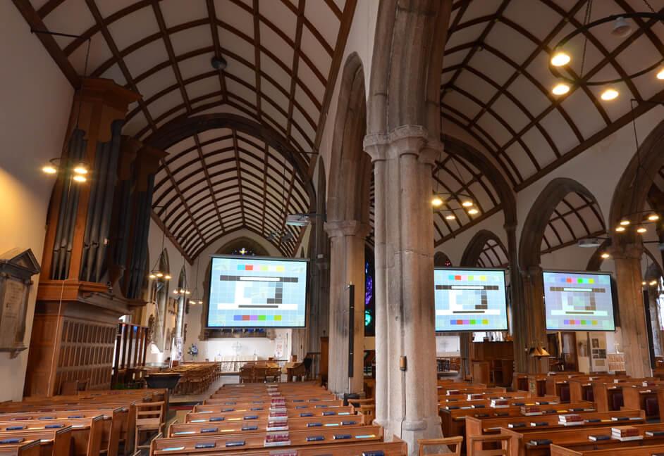 Multiple projection screens instlled in church Devon