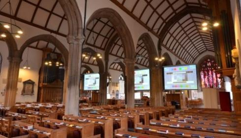dropdown projector screen in church