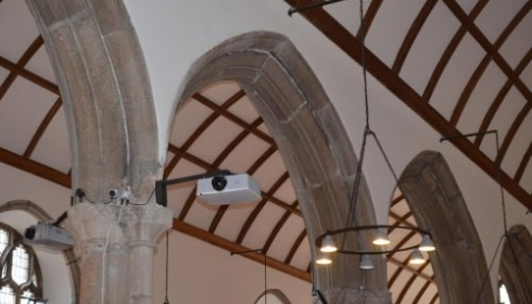 Custom projector bracket installation, church Plymouth