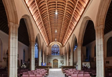St Petrocs Church Bodmin Pendant lighting and ceiling uplighting decorative