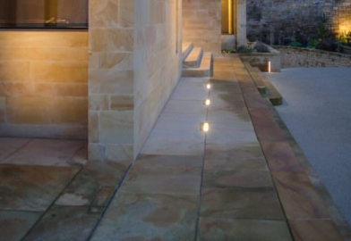 In ground patio external facade landscape lighting Erco wall washers diffused output