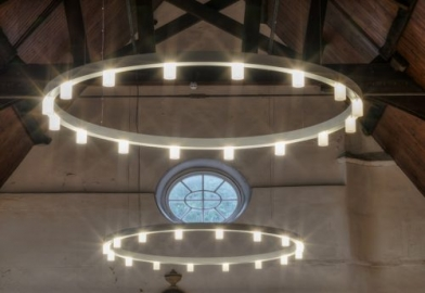 Custom chandeliers with opal diffusers for church in Devon