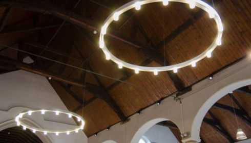 Ceiling ring and drop down lights