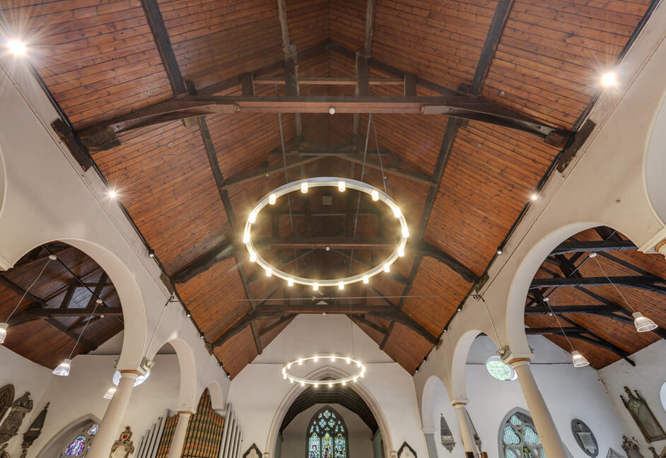 Modern bespoke chandeliers for Stoke Damerel Church in Plymouth Devon dali dimmable