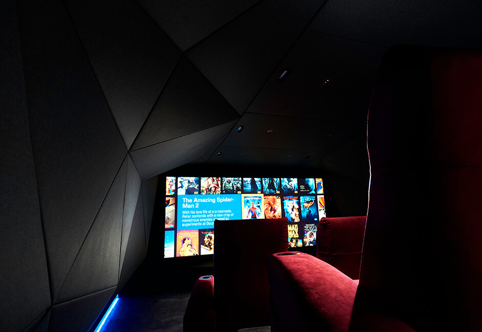 Home cinema with kaleidescape on screen