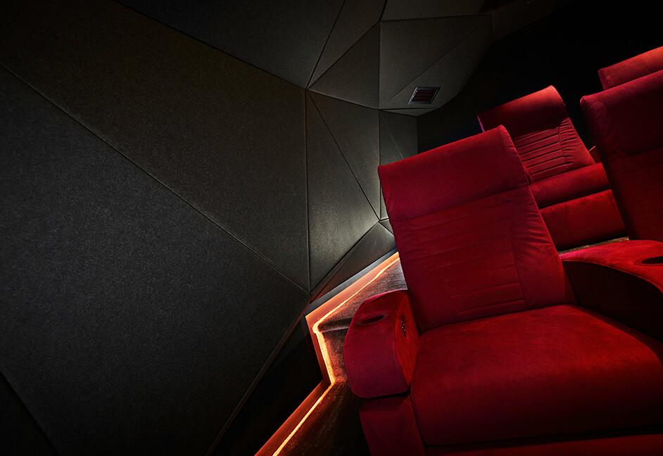 Home cinema seating and colour changing skirting lighting