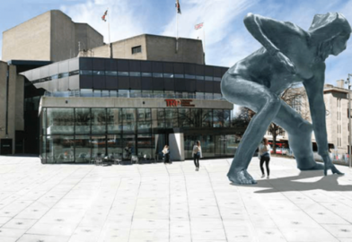 Artists impression of The Messenger outside the Theatre Royal Plymouth Devon UK