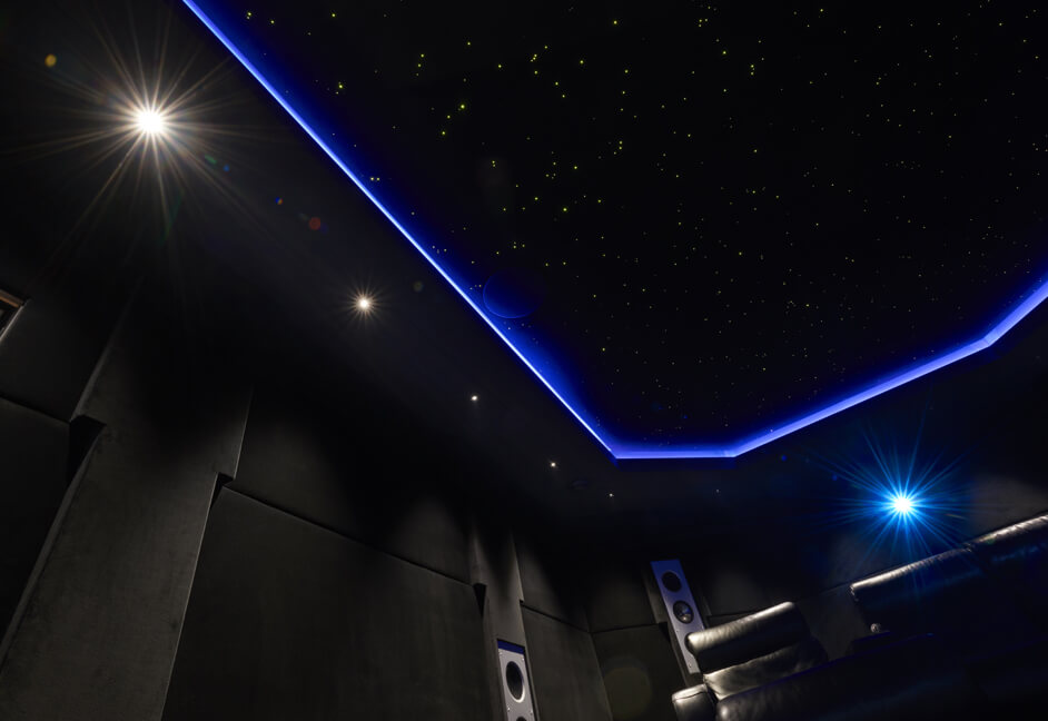 Colour changing star ceiling custom built with ceiling speakers