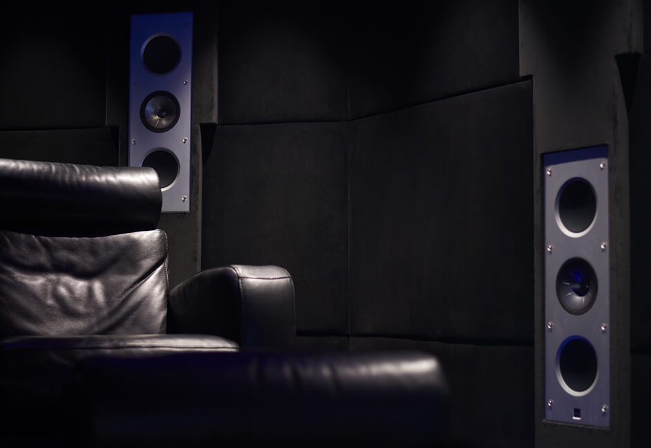Keff speakers, leather seating, wall covering