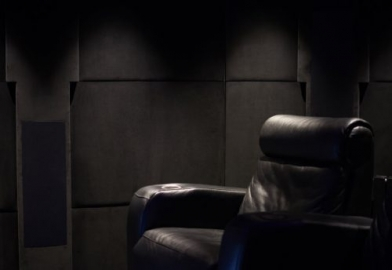 Leather seats and custom acoustic wall covering
