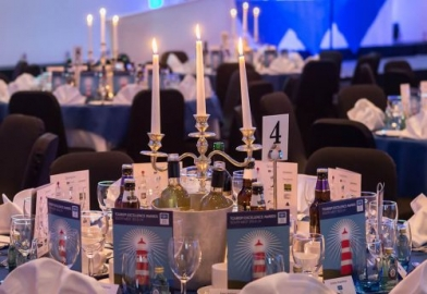 Candelabra table centre piece setting for corporate awards dinner