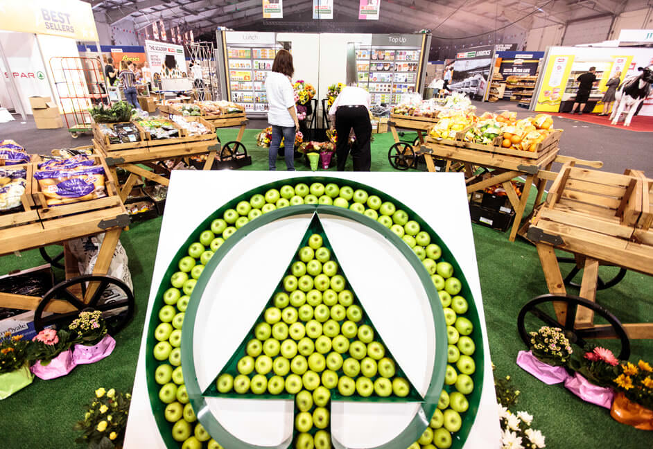 Central feature clients logo made from food apples